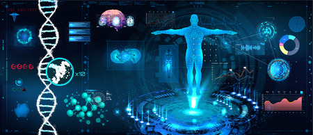 Ilustración de Healthcare futuristic scanning in HUD style design, Human body, organs and brain scan with pictures. Hi-tech elements. Virtual graphic touch HUD UI with illustration of DNA formula and data chart - Imagen libre de derechos
