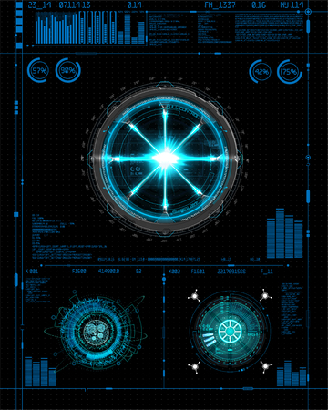 Illustration pour Head-Up Interface set for GUI, UI, UX design. HUD style, Technology elements set (space, dashboard, hologram, spaceship, medicine, finance, analytics) View from the cockpit spaceship HUD UI style - image libre de droit
