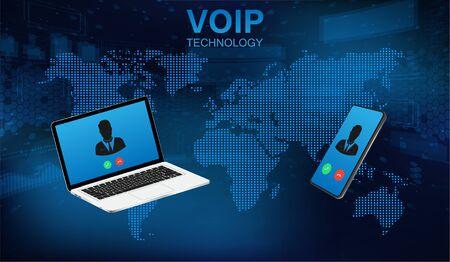 Illustration pour Voip call system voice phone technology. Voice over IP, IP telephony concept. Hi-tech call system. Voice over ip internet ,data cloud, laptop and smartphone. IP Telephony cloud pbx concept - image libre de droit