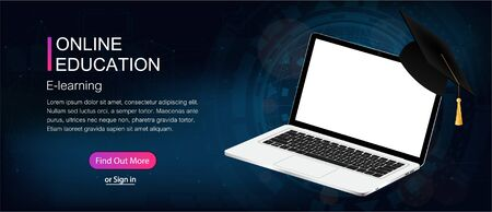 Online education composition with laptop and futuristic background. Can use for marketing (web banner, poster, cards). Web page template - of e learning online education concept with e-learning.