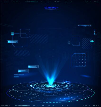 Illustration for Futuristic hologram for presentation, vector template for your project! Dark High-tech illustration, 3D abstract hologram with HUD interface. Vector illustration - Royalty Free Image