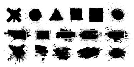Black grunge splashes stencil with frame. Graffiti spray paint, different shapes. Dirty artistic design elements with frame for text. Grunge box with ink brush strokes and spray splash. Vector set