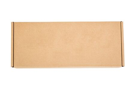 Photo for Cardboard box is isolated on a white background. Reliable packaging of the goods. - Royalty Free Image
