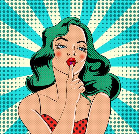 Ilustración de Girl character in vintage comic book style Vector illustration. - Imagen libre de derechos