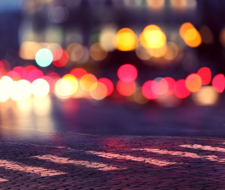 Photo for night lights in city and zebra crossing on pavement - Royalty Free Image