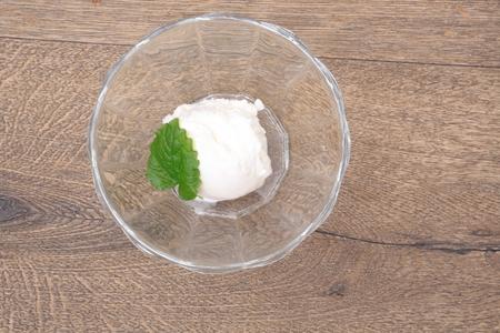 Scoops of white ice cream