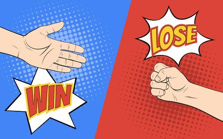 Rock paper scissors hand game. Pop art style vector