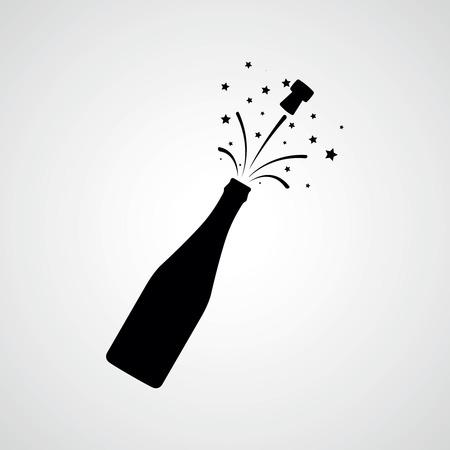 Illustration pour Champagne bottle explosion. Vector icon - image libre de droit