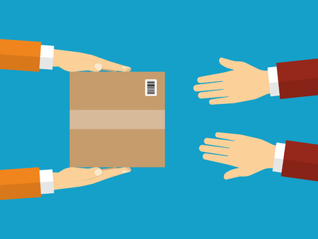 Ilustración de Receiving package from courier to customer view from above. Vector illustration. - Imagen libre de derechos