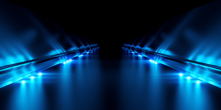 Photo pour Passage with black background and blue illumination - image libre de droit