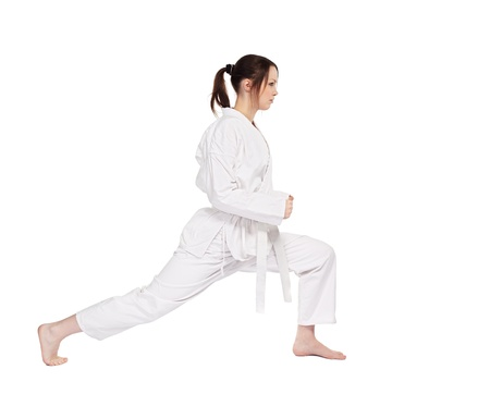 Full Length Isolated Portrait Of Beautiful Martial Arts Girl In Kimono Excercising Karate Kata Royalty Free Images Photos And Pictures