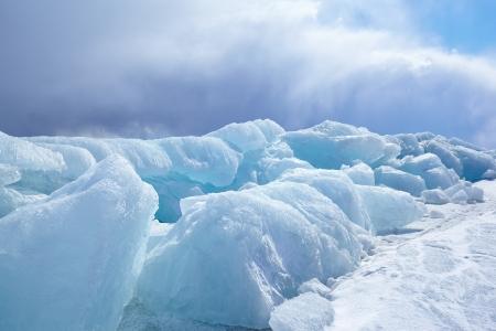Winter ice landscape on siberian lake Baikal