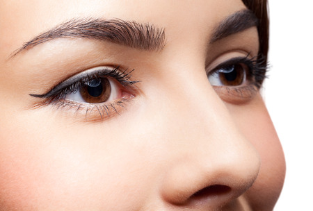 Closeup shot of woman eyes with day makeupの写真素材