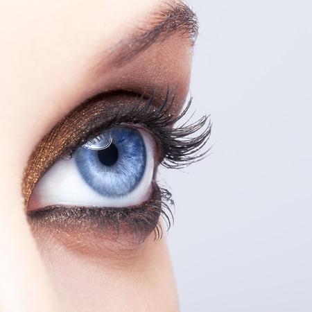 Close-up shot of female eye make-up in smoky eyes style