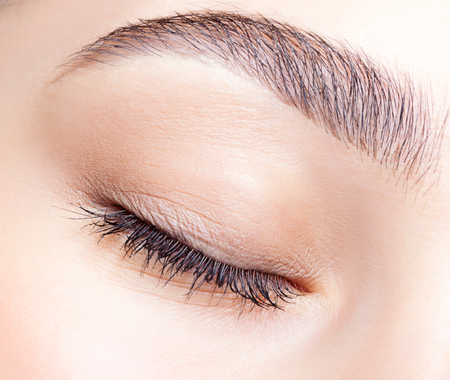 Foto de Closeup shot of female closed eye and brows with day makeup - Imagen libre de derechos