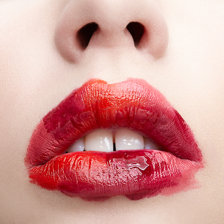 Photo for Closeup macro portrait of female part of face. Human woman lips with unusual alyapy beauty makeup. Girl with perfect lips shape. - Royalty Free Image
