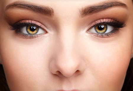 Photo pour Closeup macro shot of human female face. Woman with natural face and eyes beauty makeup. - image libre de droit