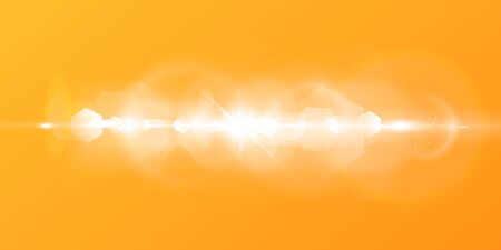 Illustration pour Abstract sparkling lens flare with sparkling sun on a yellow and orange background. A warm sun that is filled with natural rays of light glare. Isolated vector illustration. - image libre de droit