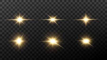 Illustration pour Shining golden stars isolated on black background. Effects, lens flare, shine, explosion, golden light, set. Shining stars, beautiful golden rays. Vector illustration. - image libre de droit