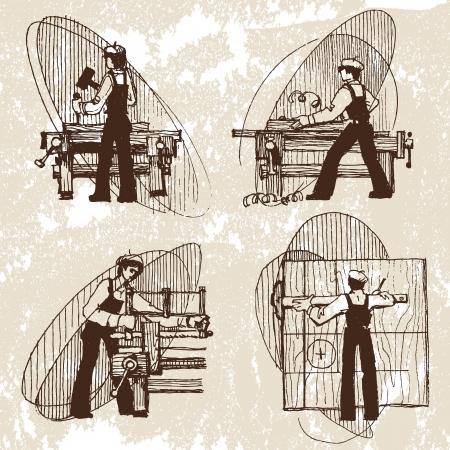vector illustration of a carpenter