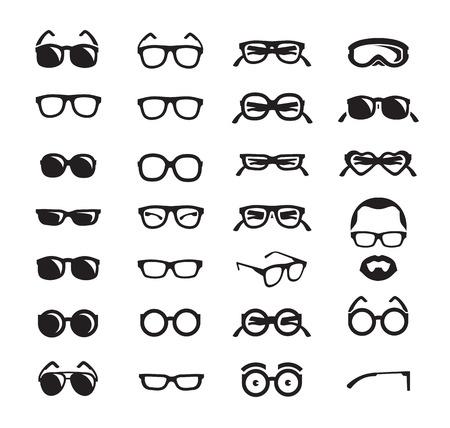 Illustration pour Glasses icons  Vector format - image libre de droit