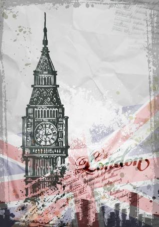 Foto de Big Ben, London, England, UK. Hand Drawn Illustration. Vector format - Imagen libre de derechos