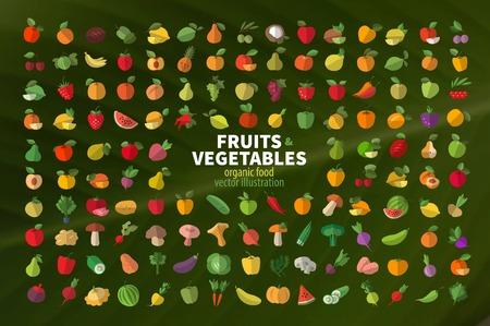 Foto für Set of fruits and vegetables icons. Vector illustration - Lizenzfreies Bild