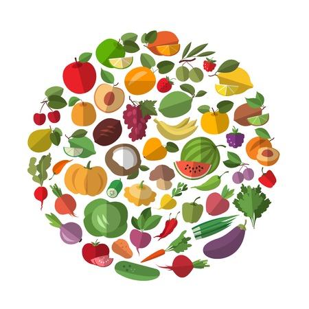 Foto für Fruits and vegetables in a circle. Food icon collection - Lizenzfreies Bild