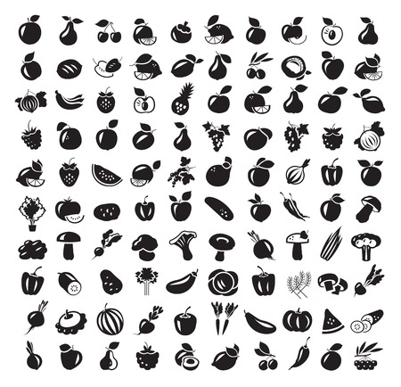 Fruit and Vegetables icon set. Vector illustrationのイラスト素材