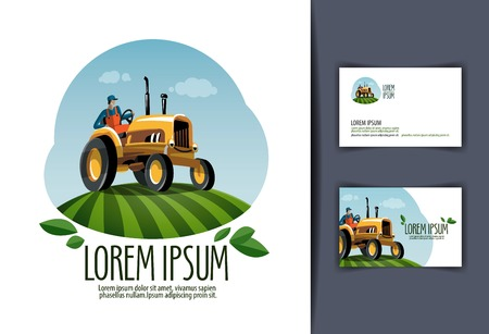 Farming. tractor in the field. vector illustration