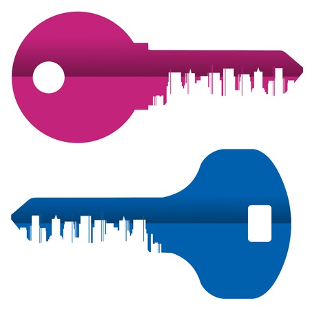 colored keys on a white background. vector illustration
