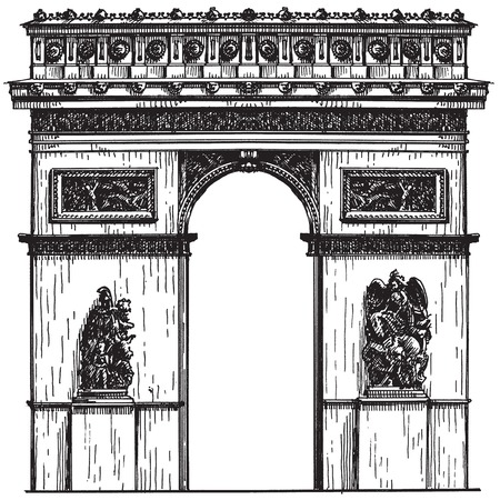 sketch. French architecture on a white background. vector illustration