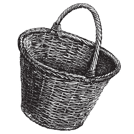 sketch. Wicker basket on a white background. vector illustration