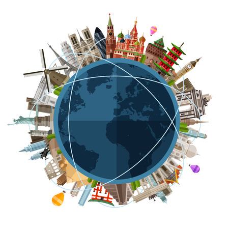 Illustration pour historic architecture of the countries on the globe in a circle. vector. flat illustration - image libre de droit