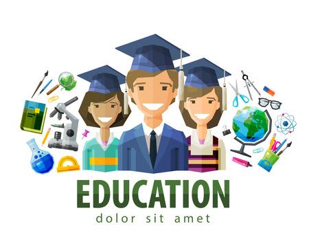 Illustration pour happy students in caps graduates. vector. flat illustration - image libre de droit