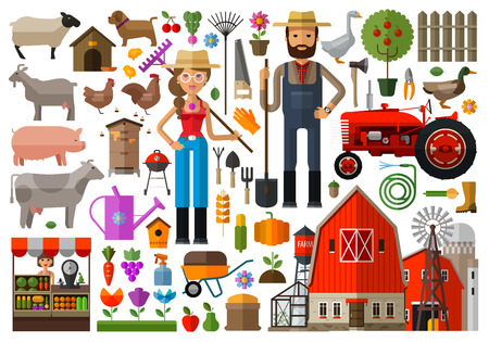Illustration for set of icons farming. vector. flat illustration - Royalty Free Image