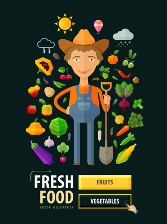a farmer with a shovel in his hand. vector illustrationのイラスト素材