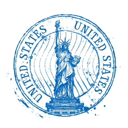 statue of liberty on a white background. vector illustration