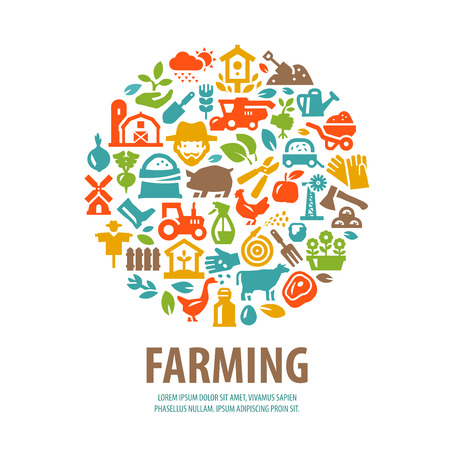 farm. Set of icons on a white background. vector illustration