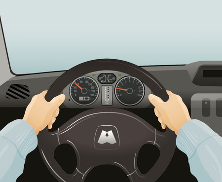 driver behind the wheel of a car. vector illustration