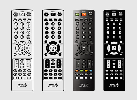TV remote control on a white background. vector illustration
