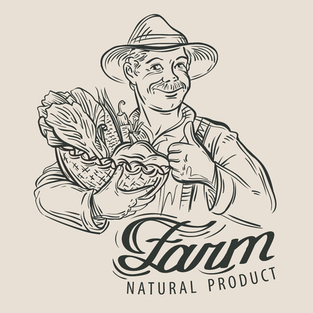 happy farmer and fresh vegetables. sketch. vector illustrationのイラスト素材