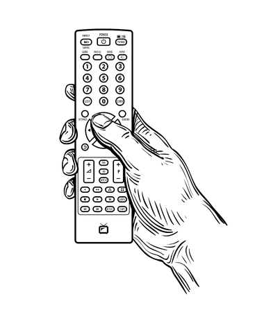 hand-drawn TV remote control isolated on white background