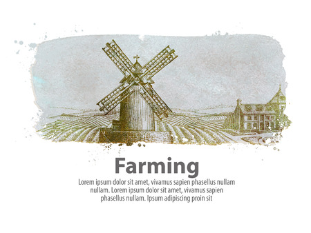 farm buildings in the background of a plowed field. vector illustration