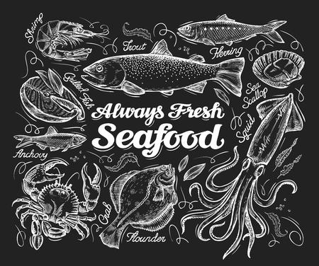 Vektor für seafood sketch  on a black background. illustration - Lizenzfreies Bild