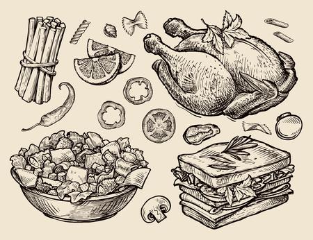 Vektor für food. vector sketches hand drawn - Lizenzfreies Bild