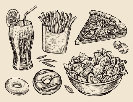 Ilustración de food. sketch soda, fries, pizza, salad. vector illustration - Imagen libre de derechos