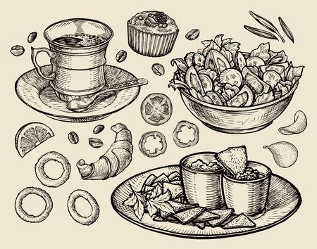 food. vector sketch coffee, tea, salad, nachos, muffin, dessert