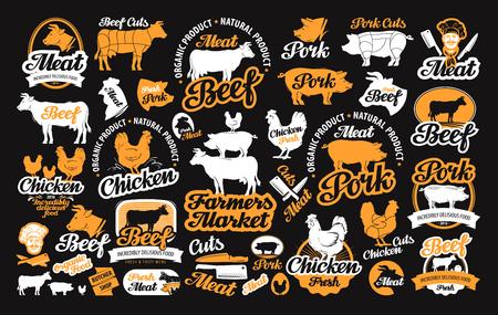 Ilustración de vector set of butchery labels, icons and design elements - Imagen libre de derechos