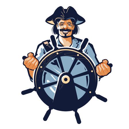 pirate vector. corsair or captain, sailor, seafarer icon